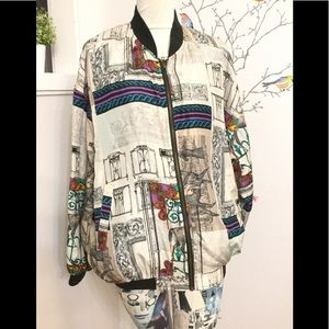 Vintage 90's/80's Robert Stocks Silk Bomber Jacket